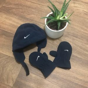 Nike navy winter hat (w/Velcro) w/matching gloves